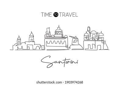 Single one line drawing Santorini city skyline, Greece. World historical town landscape. Best holiday destination postcard. Editable stroke trendy continuous line draw design vector illustration