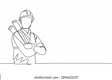 Single one line drawing young male architect cross arm on chest hold blueprint paper. Professional work profession occupation minimal concept. Continuous line draw design graphic vector illustration