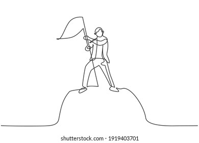 Single one line drawing of young smart male manager planting flag on top mountain, metaphor. Successful business achieve target minimal concept. Continuous line draw design graphic vector illustration