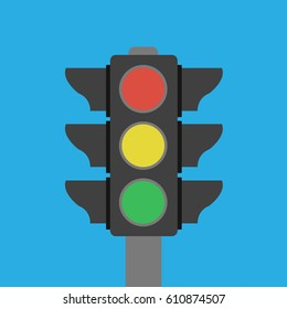 single one Vector isolated stoplight with green, red,yellow colors symbol icon object. buttons in traffic light sign illustration flat design. stop, ready, drive & go for transportation or business
