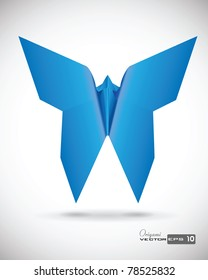Single Origami Butterfly. EPS 10 Vector.