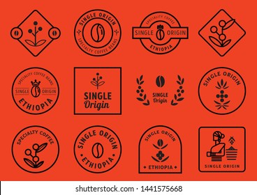 single origin badge design set with coffee fruits, leaf,crown,beans and local farmer vector illustration
