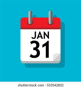 Single page from calendar. Flat on blue background. 31st of January.