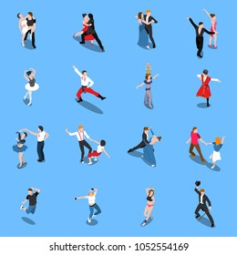 Single and partner dances, professional performers in various poses, isometric people isolated on blue background vector illustration
