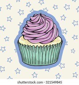Single Pastel Cupcake With Frosting On a Star Patterned Background.  Hand Drawn Vector Illustration