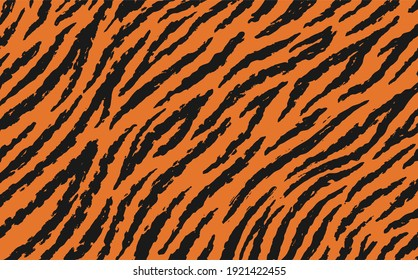 single pattern of tiger skin in doodle vintage style.