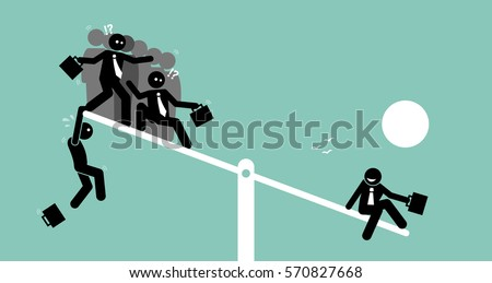 A single person is heavier than a group of people on a seesaw scale and outweighing them. Vector artworks depicts the concept of outweigh, value, worth, power, and comparison.