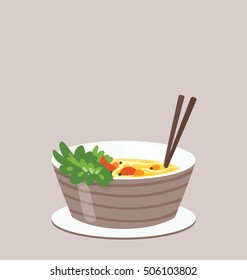 Single portion of the vegan Asian food on the light brown background.  Chopsticks served with the food. Big copy space on the top of the illustration.