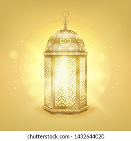 Single realistic gold arabic lantern - Shiny gold vintage metal lantern with arabic pattern, vector illustration.