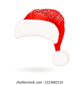 Single realistic red Santa Claus hat with fluffy fur pompon isolated and snow on white background. Vector illustration