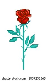 Single red rose, pixel art flower isolated on white background. Floral shop/delivery logo. Romantic symbol of tender love and passion. Old school 8 bit slot machine icon. Retro video game graphics.