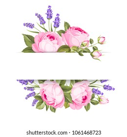 Single rose card. Gentle vintage card with hand drawn floral wreath in watercolor style with fragrant lavender. Vector illustration.