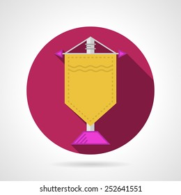 Single round flat vector icon for yellow souvenir pennon on gray background. Long shadow design.