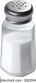 A single salt shaker on white background. Vector illustration