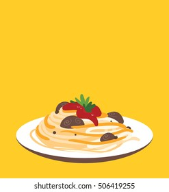 Single serving of the organic pasta with tomato sauce. Bright yellow background behind tasty meal. Big copy space on the top of the image.