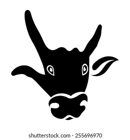 Single silhouette of a bull's head isolated on white background. Hand gesture. Vector illustration.