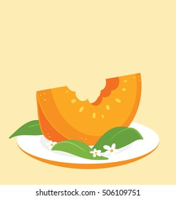 Single slice of the tasty pumpkin arranged with green leafs and flowers on the simple orange plate on the orange background. Big empty text space on the top of the image.