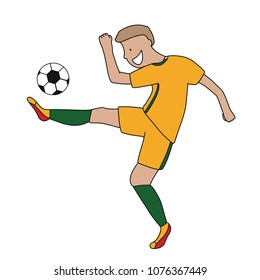 Single soccer player of the football team of Australia kicking a football ball. Footballer Vector Isolated white background.