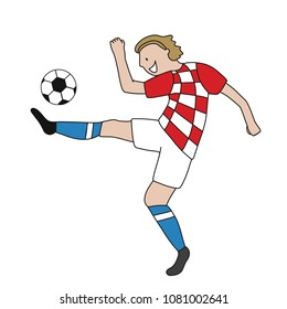 Single soccer player of the football team of Croatia kicking a football ball. Footballer Vector Isolated white background.