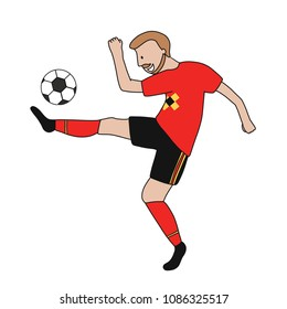 Single soccer player of the football team of Belgium kicking a football ball. Footballer Vector Isolated white background.