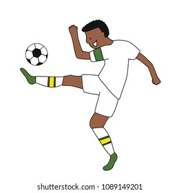 Single soccer player of the football team of Senegal kicking a football ball. Footballer Vector Isolated white background.