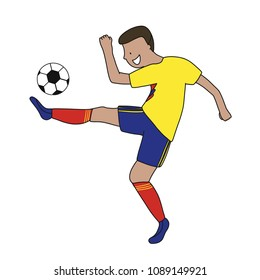 Single soccer player of the football team of Colombia kicking a football ball. Footballer Vector Isolated white background.