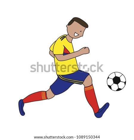 Single soccer player of the football team of Colombia kicking a football  ball. Footballer Vector 7a66f2373