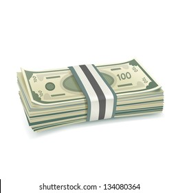 single stack of money isolated on white background