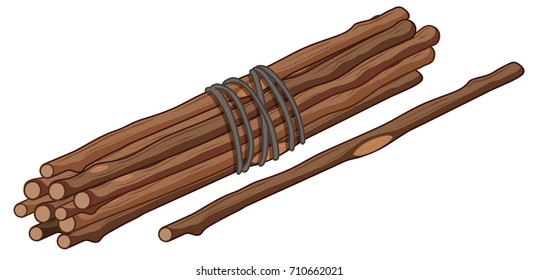 Single stick and bunch of sticks illustration