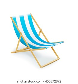 single stripped deck-chair beach inventory. isolated on white background. eps10 vector illustration