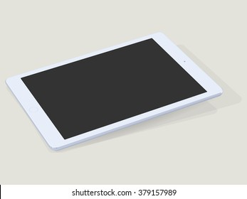 Single tablet computer with blank black screen laying down on table with shadow