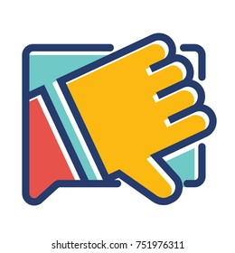 Single thumbs down hand gesture enclosed in a speech bubble colored icon. Flat vector illustration of a dislike button to express rejection and negative feedback. Fail sign. No symbol.