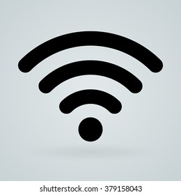 Single universal symbol of sound, transmissions, wireless technology or hot-spot in black over gray background