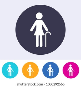 Single vector round abstract pensioner woman sign icon
