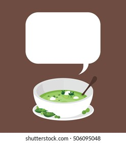 Single white ceramic bowl whit green peas pottage serving.  Big text bubble on the top of the modern flat illustration.