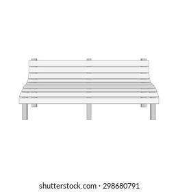 Single white modern Bench. Vector Illustration