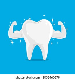 Single White and Very Strong Muscle Healthy Tooth iSolated on Blue Background.