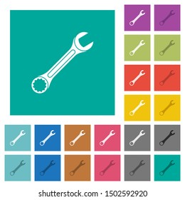 Single wrench multi colored flat icons on plain square backgrounds. Included white and darker icon variations for hover or active effects.