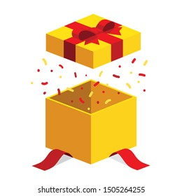 Single yellow open giftbox / square present with red ribbon bow flat isometric illustration design, surprise with confetti, vector interface app icon ui ux button web isolated on white background