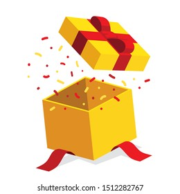 Single yellow open giftbox / square present with red ribbon bow flat isometric illustration design, surprise with confetti, vector interface app icon ui ux banner web isolated on white background