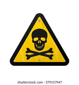 Single yellow triangular warning sign icon graphic of black skull and crossbones over isolated white background