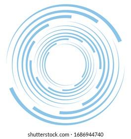 Giro monocromo, giratorio de un solo color. Forma con rotación, giro, distorsión espiral. Elemento de diseño Helix, voluto y gemelo