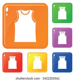 Singlet icons set collection vector 6 color isolated on white background