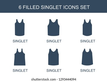 singlet icons. Trendy 6 singlet icons. Contain icons such as . singlet icon for web and mobile.
