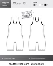 Singlet vector template. Wrestling tricot design template
