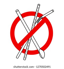 Single-use plastic ban - a red slashed circle over a collection of plastic drinking straws.