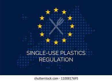 Single-use plastics regulation on dotty european union map and EU stars.
