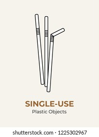 Single-use white plastic straws. Vector illustration recycling plastic item. Disposable plastic straws. Isolated  straws flat logo, ecological poster, postcard, banner, pollution environment concept.