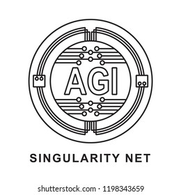 singularity coin  Cryptocurrency  icon outline