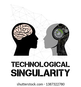 singularity, human and artificial intelligence, vector